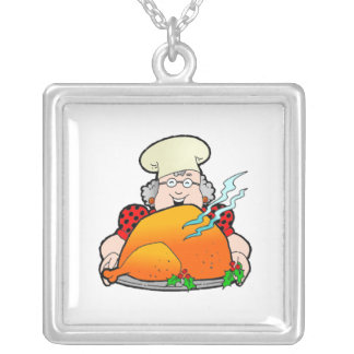 Retro Home Cooking Design. Add Your Own Text. Square Pendant Necklace