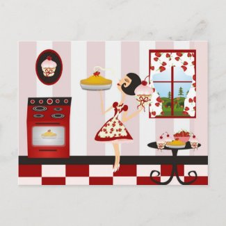 Retro Home Cooking Recipe postcard