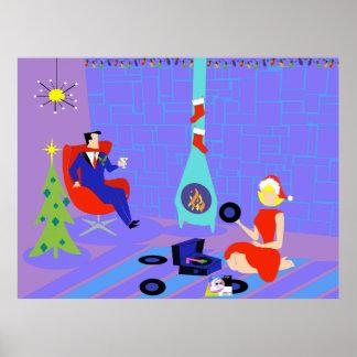 Retro Home for the Holidays Christmas Poster