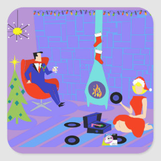Retro Home for the Holidays Christmas Stickers