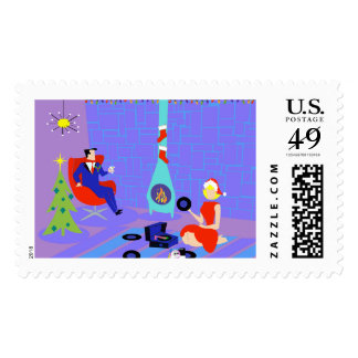 Retro Home for the Holidays Postage Stamp