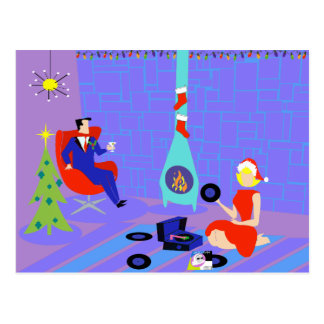 Retro Home for the Holidays Postcard