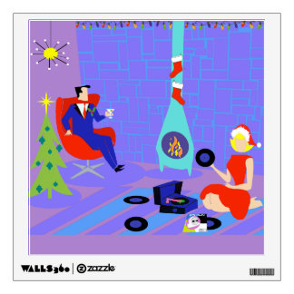 Retro Home for the Holidays Wall Decal