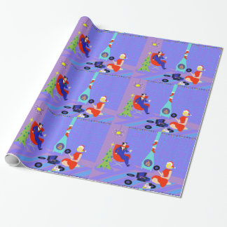 Retro Home for the Holidays Wrapping Paper