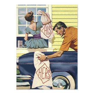 """Retro Home Found Blue Car Moved Move Announcement 4.5"""" X 6.25"""" Invitation Card"""