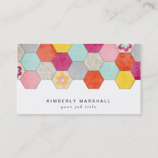 retro honeycomb design business cards blue