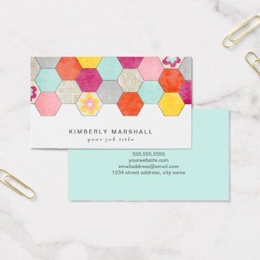 Professional Business Retro Honeycomb Design Business Cards / Blue