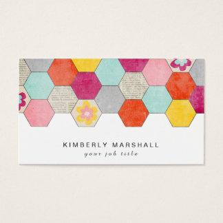 Retro Honeycomb Design Business Cards / Blue