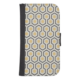 Retro Honeycomb Pattern Beehive Samsung S4 Wallet Case