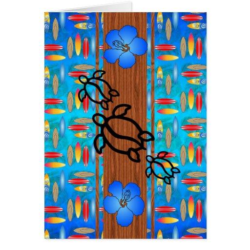 Retro Honu Surfboard Greeting Cards