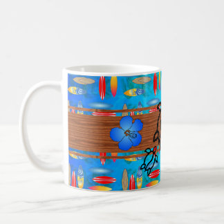 Retro Honu Surfboard Coffee Mug