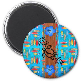Retro Honu Surfboard Refrigerator Magnets