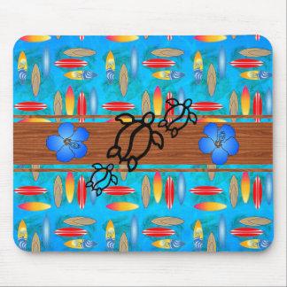 Retro Honu Surfboard Mouse Pad