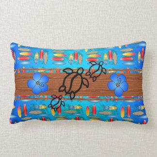 Retro Honu Surfboard Throw Pillows