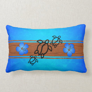 Retro Honu Surfboard Throw Pillow
