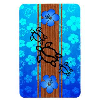 Retro Honu Surfboard Rectangle Magnets
