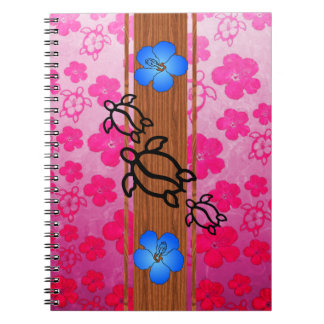 Retro Honu Surfboard Spiral Notebook