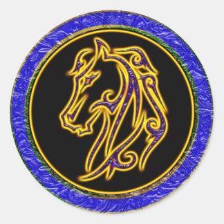 RETRO HORSE HEAD CLASSIC ROUND STICKER