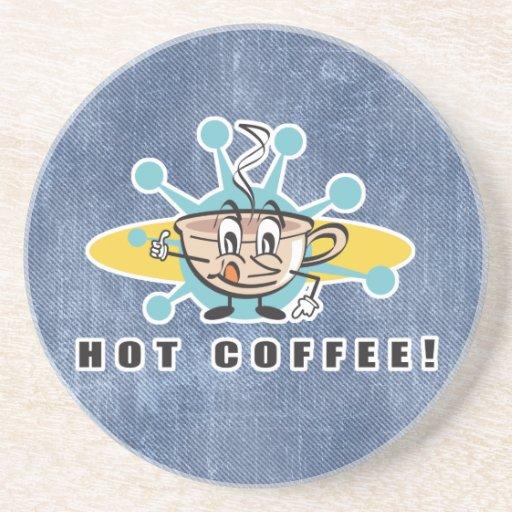 retro hot coffee design drink coasters
