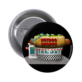 Retro Hot Dog Shoppe Button