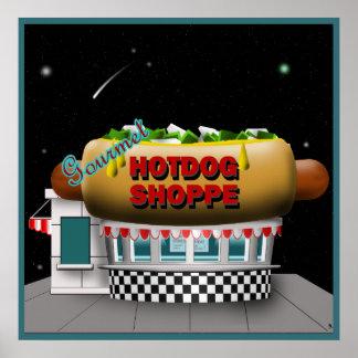 Retro Hot Dog Shoppe Poster