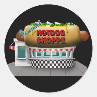 Retro Hot Dog Shoppe Classic Round Sticker