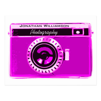 Retro Hot Pink Camera Photography Business Postcard