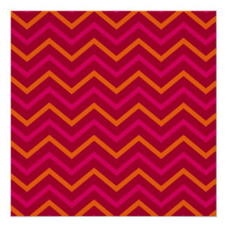Retro Hot Pink Red Orange Chevron Zig Zag Pattern Poster