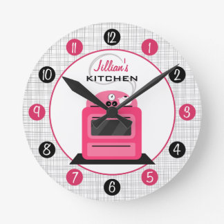 retro hot pink stove personalized kitchen clock. beautiful ideas. Home Design Ideas