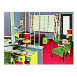 Retro Hotel Room Postcard