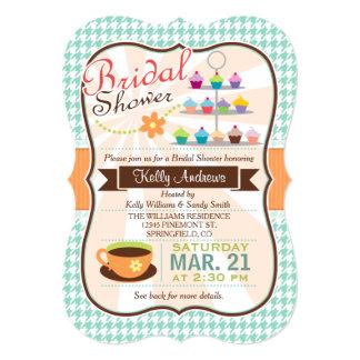 Retro Houndstooth Tea Party, Cupcake Bridal Shower Card