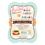 Retro Houndstooth Tea Party, Cupcake Bridal Shower 5x7 Paper Invitation Card
