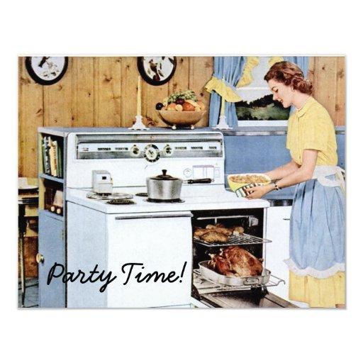 Retro Housewarming Party Custom Invitations