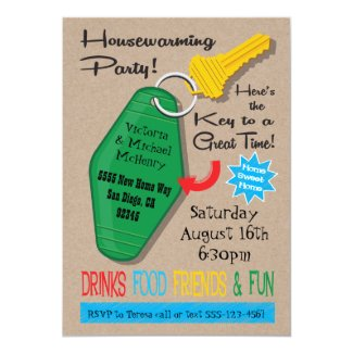 Retro Housewarming Party Invitations