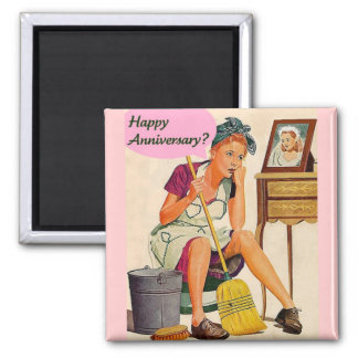 Retro Housewife Anniversary 2 Inch Square Magnet