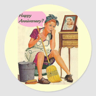 Retro Housewife Anniversary Classic Round Sticker