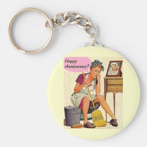 Retro Housewife Anniversary Basic Round Button Keychain
