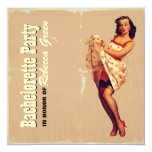 "retro housewife  bachelorette party invitation 5.25"" square invitation card"