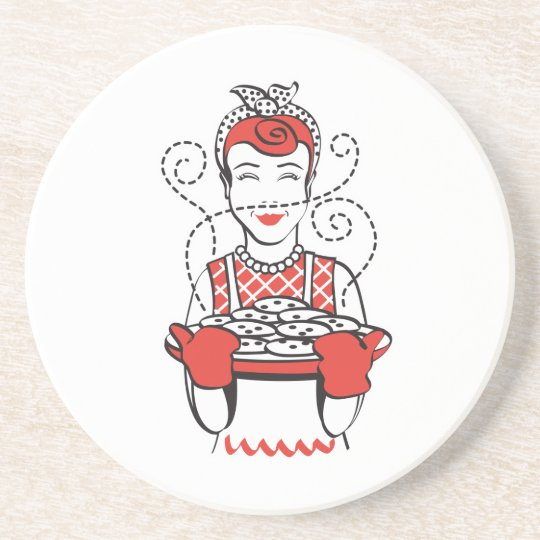 retro housewife baker drink coaster