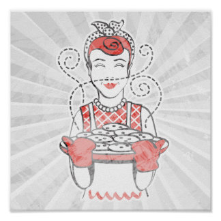 retro housewife baker poster