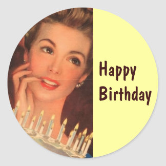 Retro Housewife Birthday Classic Round Sticker