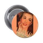 Retro Housewife Birthday Pinback Button