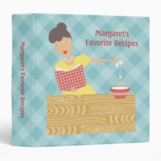 Retro housewife breaking egg recipe binder