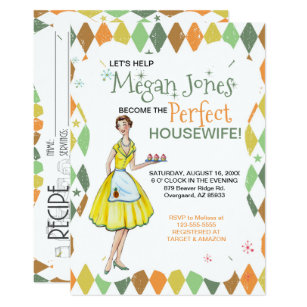 retro housewife bridal shower invitation