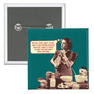 Retro Housewife Button - Sleepytime Cake