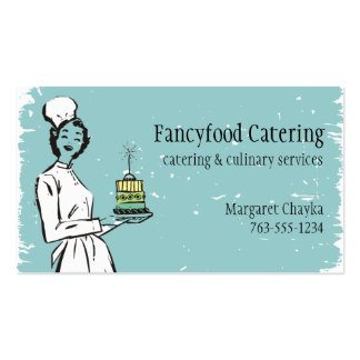 Retro housewife chef fancy gourmet catering business card