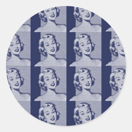Retro Housewife Classic Round Sticker