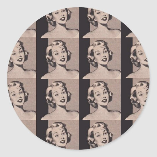 Retro Housewife Classic Round Sticker