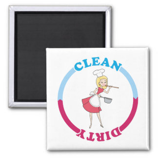 Retro housewife Clean Dirty Magnet for dishwasher