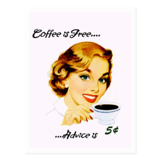 Retro Housewife Coffee and Advice Postcard